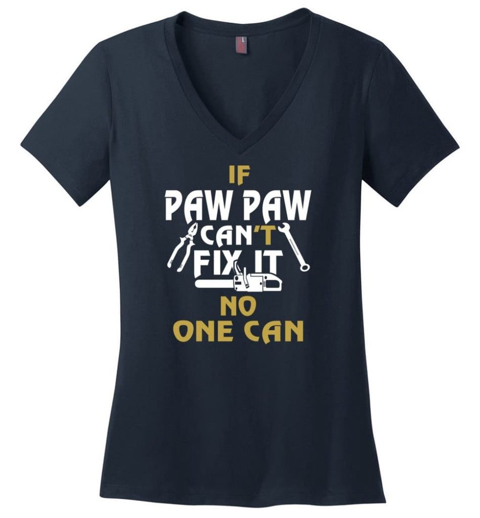 Gift Shirt For Papa Called Papa Call Grandfather Ladies V-Neck - Navy / M