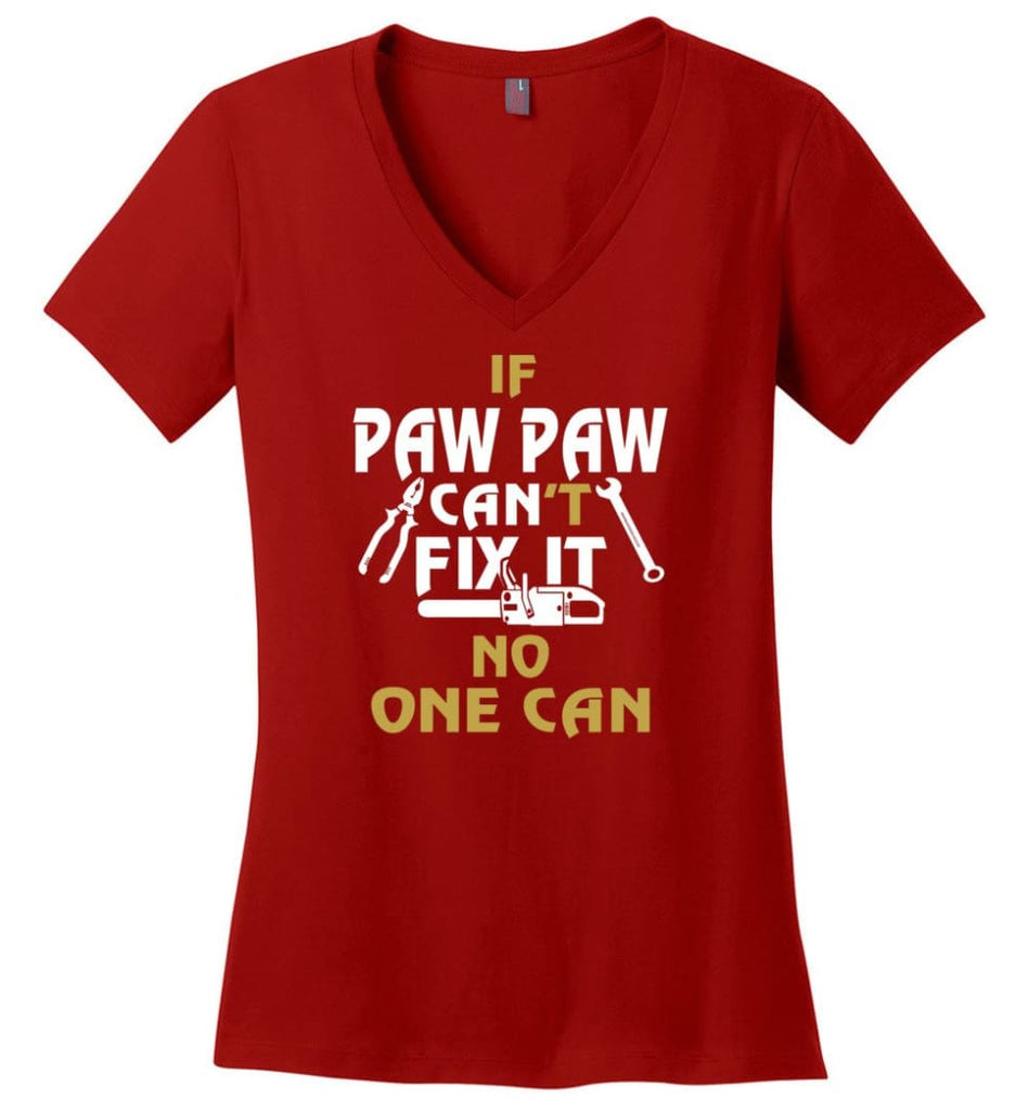 Gift Shirt For Papa Called Papa Call Grandfather Ladies V-Neck - Red / M