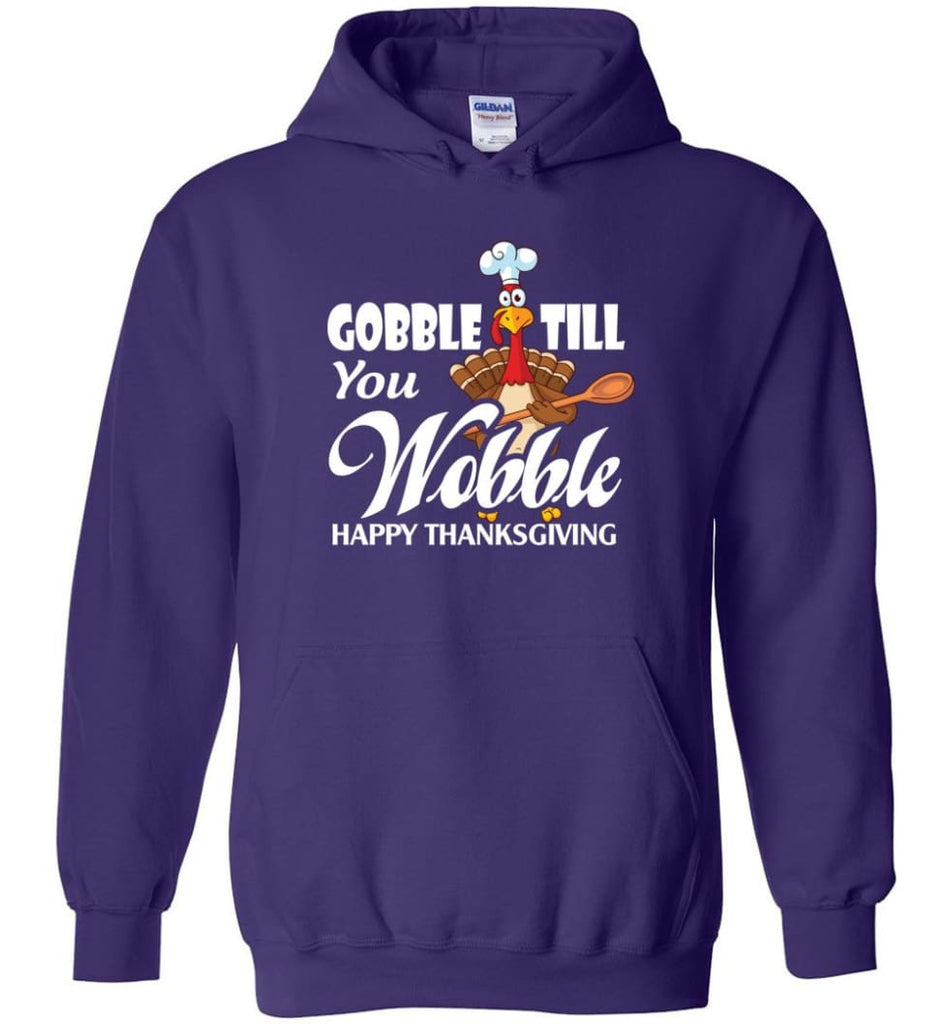 Gobble Till You Wobble Funny Thanksgiving Hoodie - Purple / M