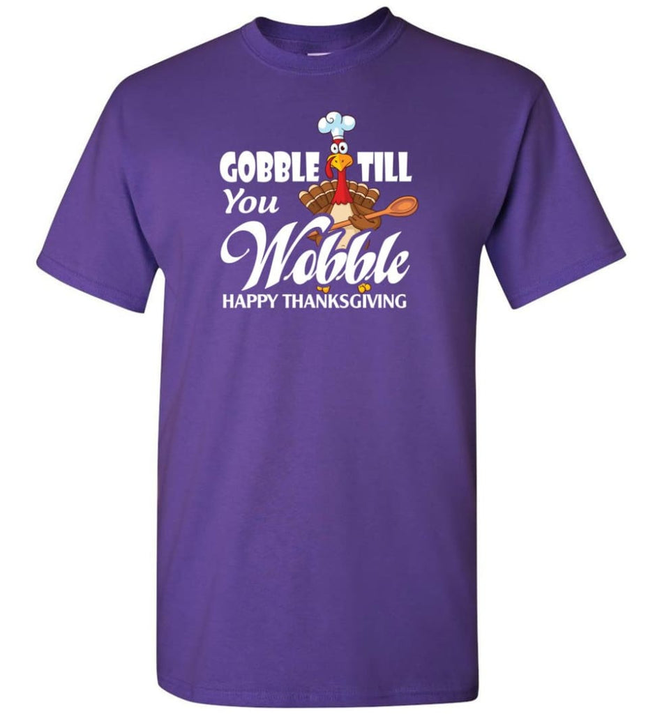 Gobble Till You Wobble Funny Thanksgiving T-Shirt - Purple / S