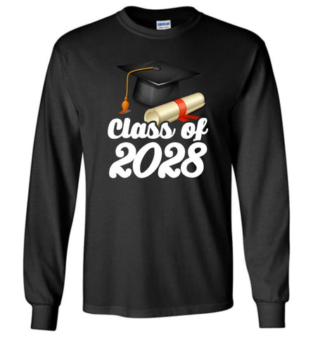 Graduation Gift Shirt Class Of 2028 Graduates Long Sleeve - Black / M