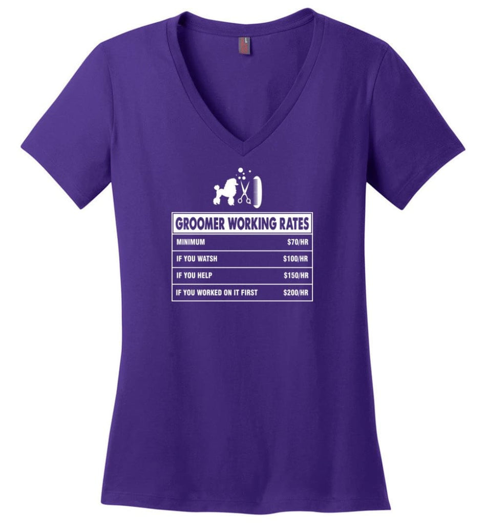 Groomer Working Rates Funny Groomer Dog Lovers Poodle Ownes Ladies V-Neck - Purple / M