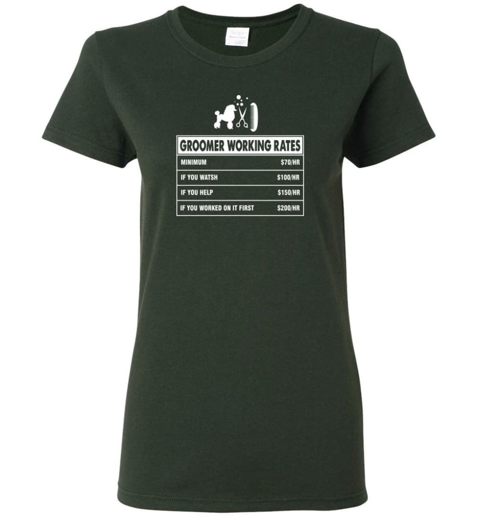 Groomer Working Rates Funny Groomer Dog Lovers Poodle Ownes Women Tee - Forest Green / M