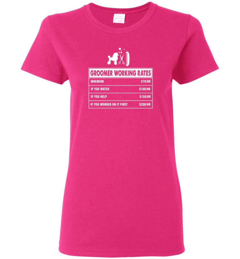 Groomer Working Rates Funny Groomer Dog Lovers Poodle Ownes Women Tee - Heliconia / M