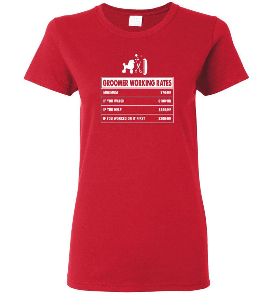 Groomer Working Rates Funny Groomer Dog Lovers Poodle Ownes Women Tee - Red / M