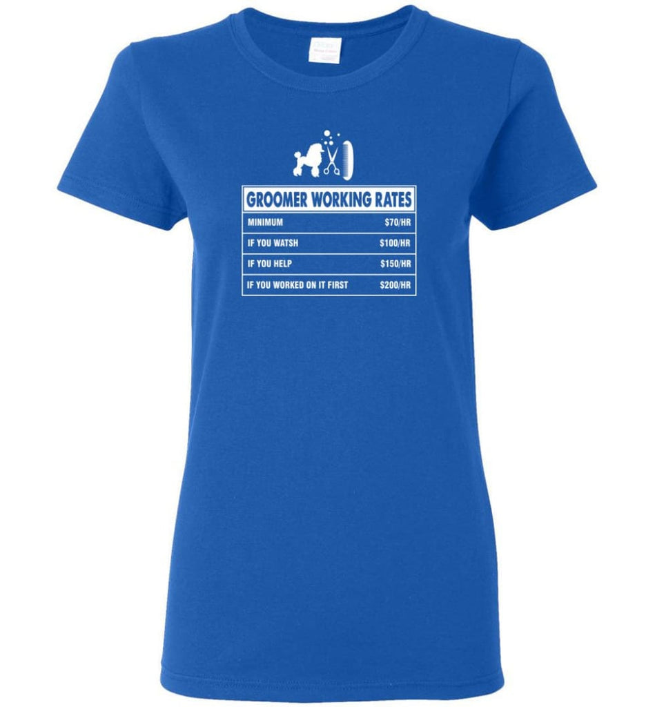 Groomer Working Rates Funny Groomer Dog Lovers Poodle Ownes Women Tee - Royal / M