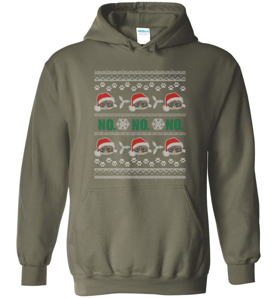Grumpy Cat Ugly Christmas Ho Ho No Grumpy Cat Sweater Angry Cat Xmas - Hoodie - Military Green / M