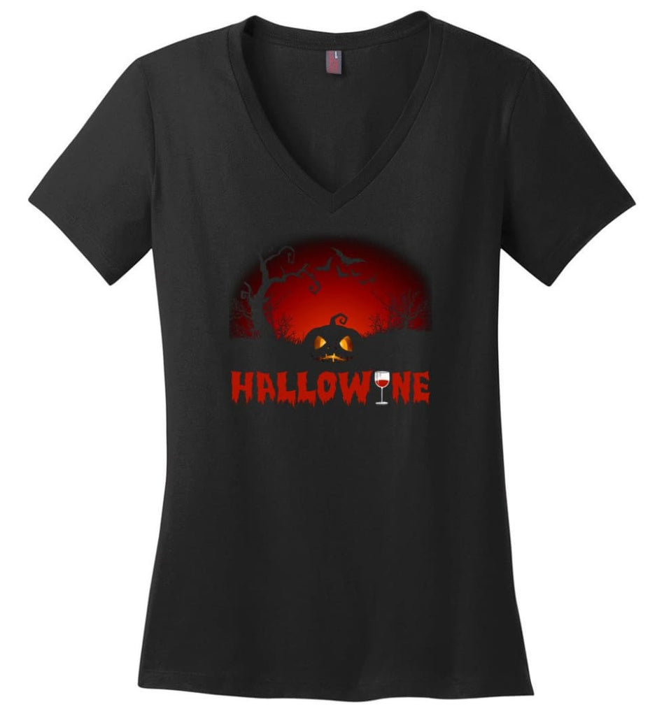 Hallowine T shirt Funny Scary Cool Halloween Costume - District Made Ladies Perfect Weight V-Neck - Black / M