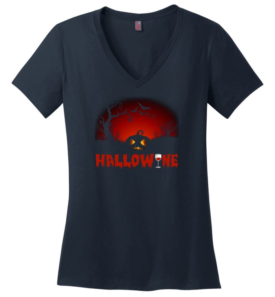 Hallowine T shirt Funny Scary Cool Halloween Costume - District Made Ladies Perfect Weight V-Neck - Navy / M