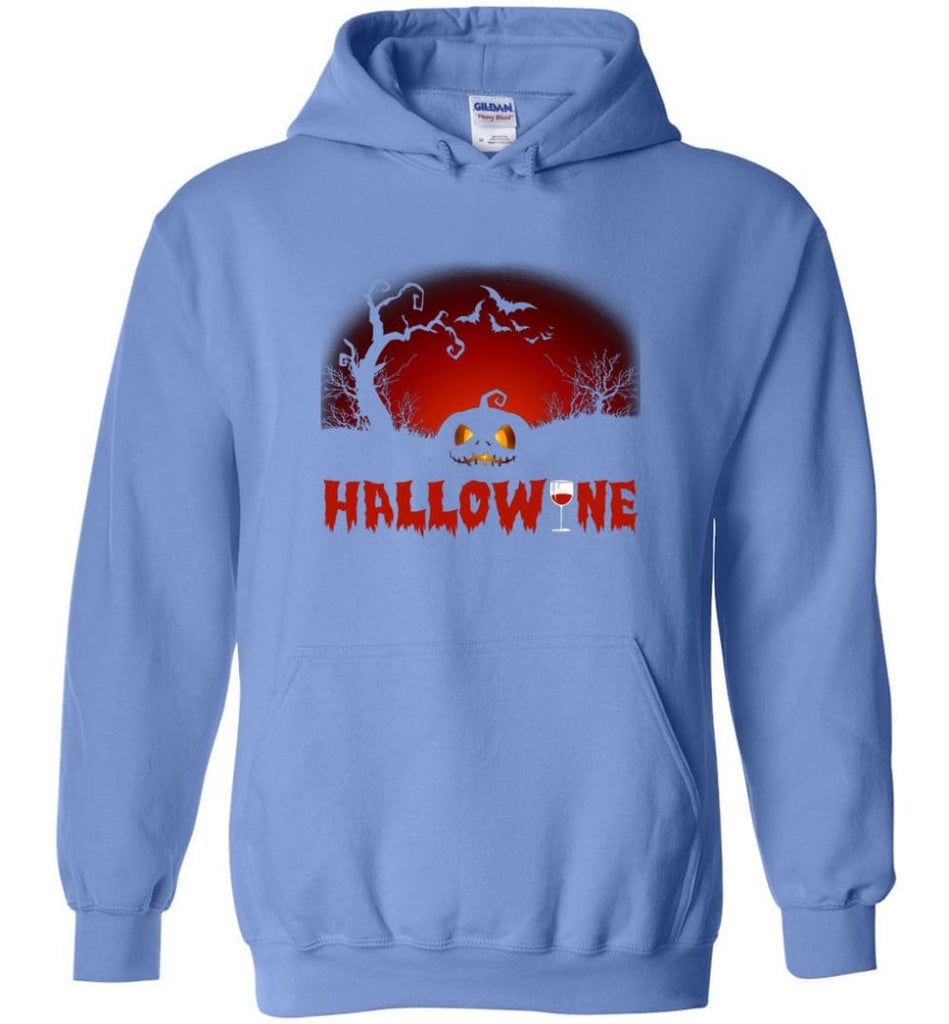 Hallowine T shirt Funny Scary Cool Halloween Costume Hoodie - Carolina Blue / M