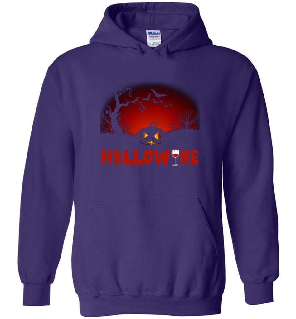 Hallowine T shirt Funny Scary Cool Halloween Costume Hoodie - Purple / M