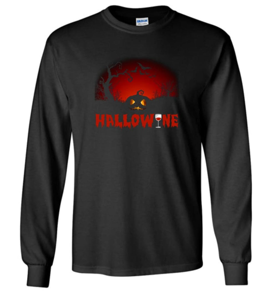 Hallowine T shirt Funny Scary Cool Halloween Costume Long Sleeve - Black / M