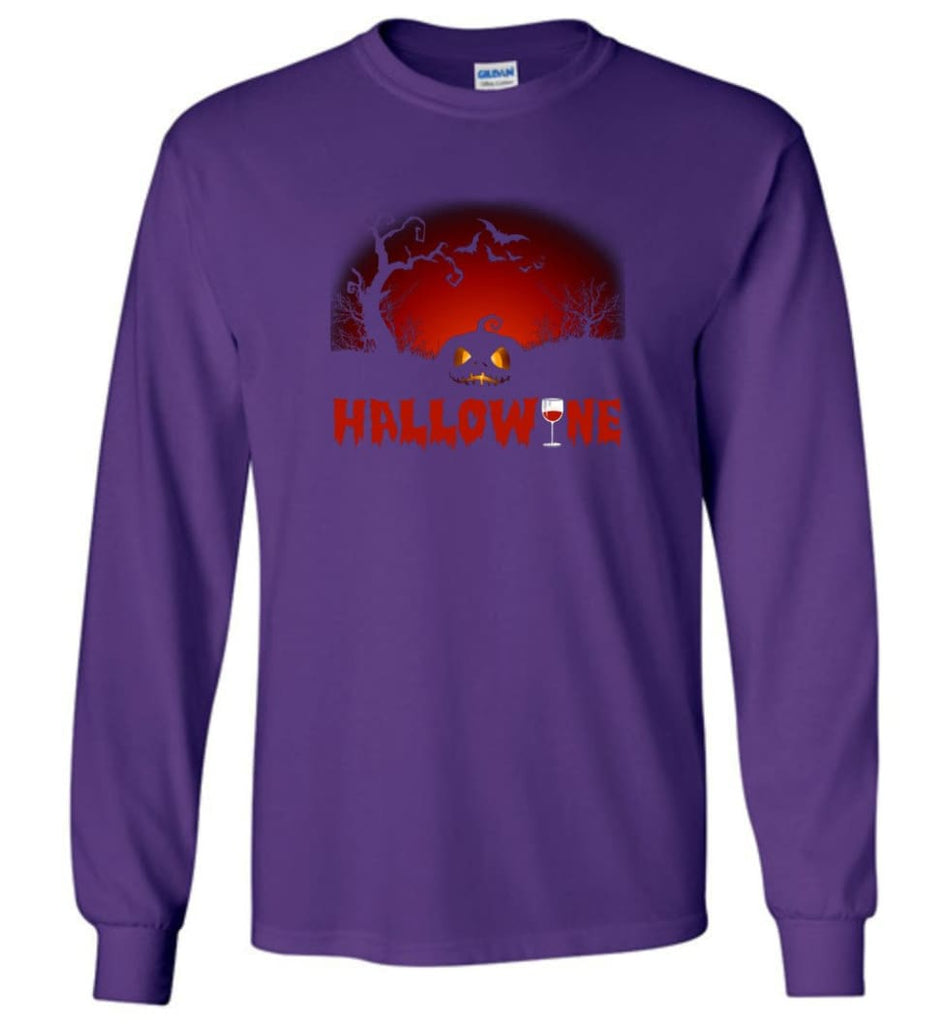 Hallowine T shirt Funny Scary Cool Halloween Costume Long Sleeve - Purple / M
