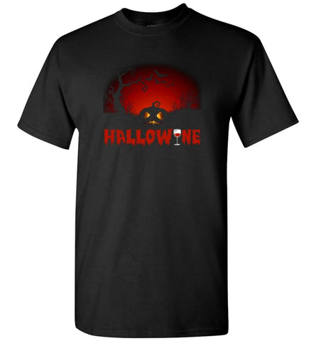 Hallowine T shirt Funny Scary Cool Halloween Costume - Short Sleeve T-Shirt - Black / S