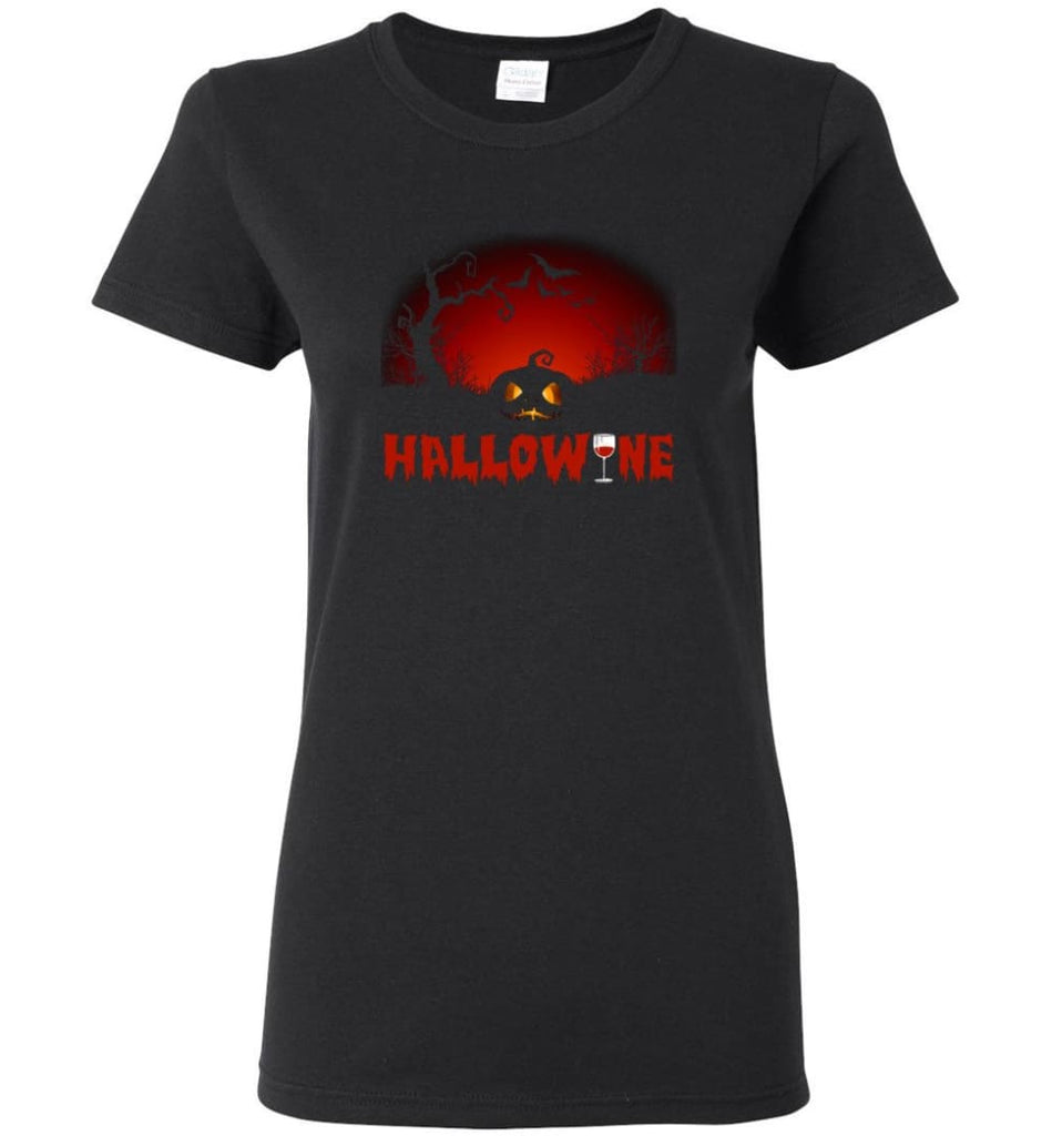 Hallowine T shirt Funny Scary Cool Halloween Costume Women Tee - Black / M