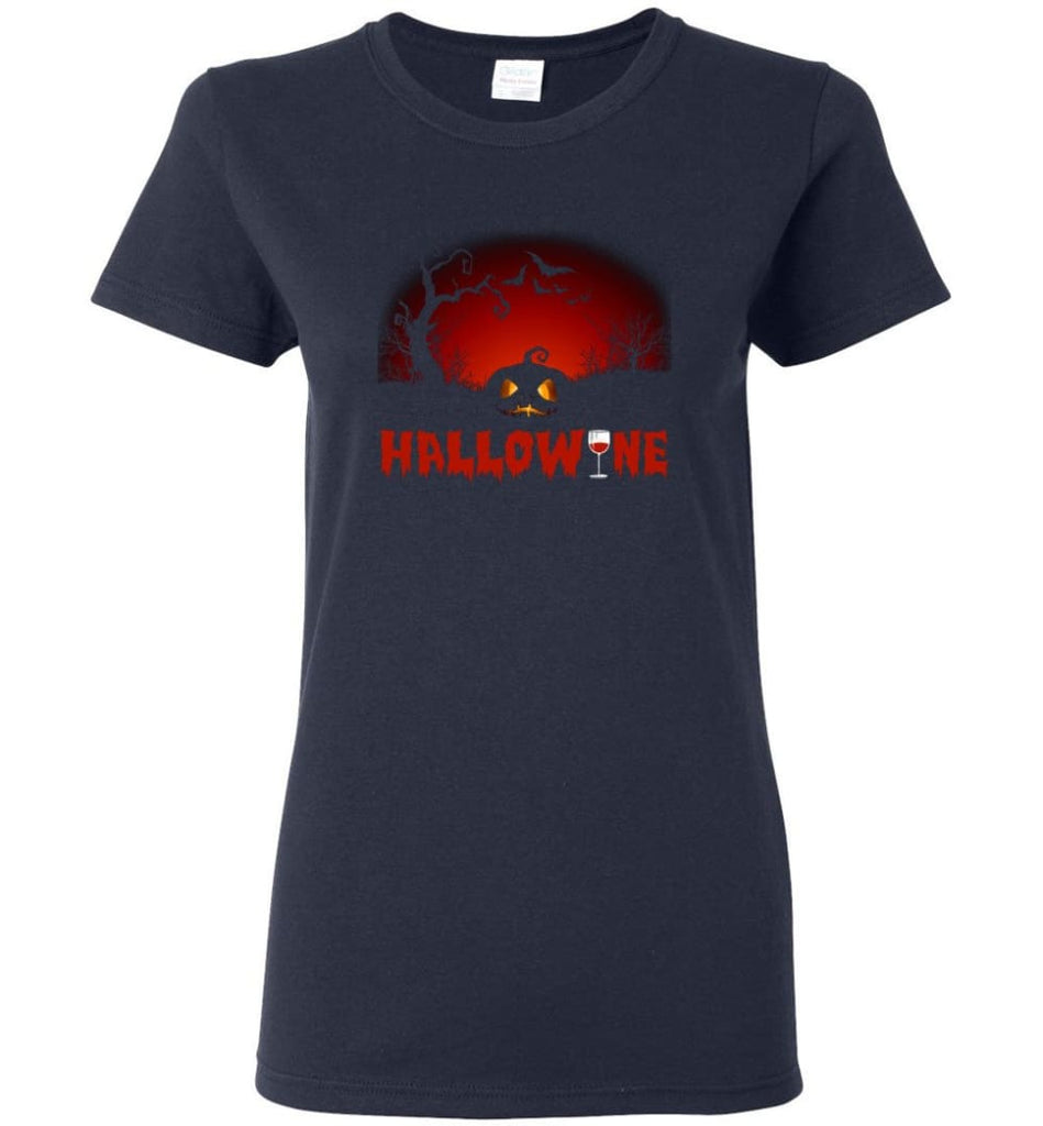Hallowine T shirt Funny Scary Cool Halloween Costume Women Tee - Navy / M