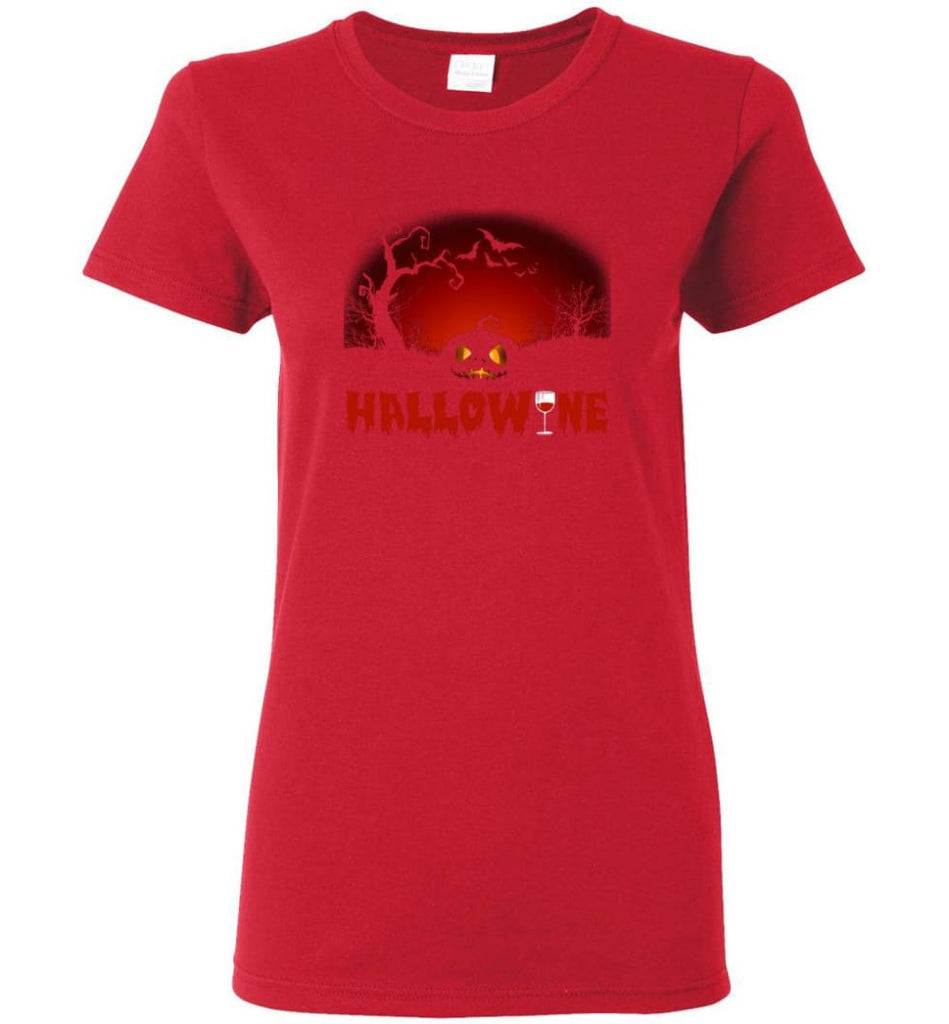 Hallowine T shirt Funny Scary Cool Halloween Costume Women Tee - Red / M