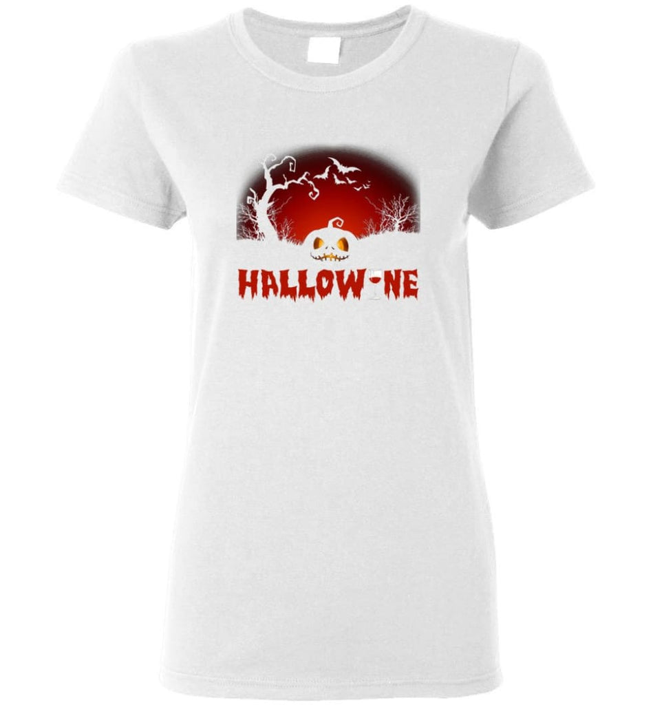 Hallowine T shirt Funny Scary Cool Halloween Costume Women Tee - White / M
