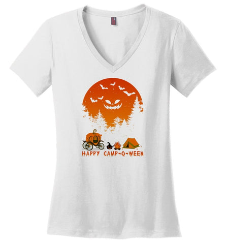 Happy Camp O Ween Halloween Funny T Shirt - Ladies V-Neck - White / M - Ladies V-Neck
