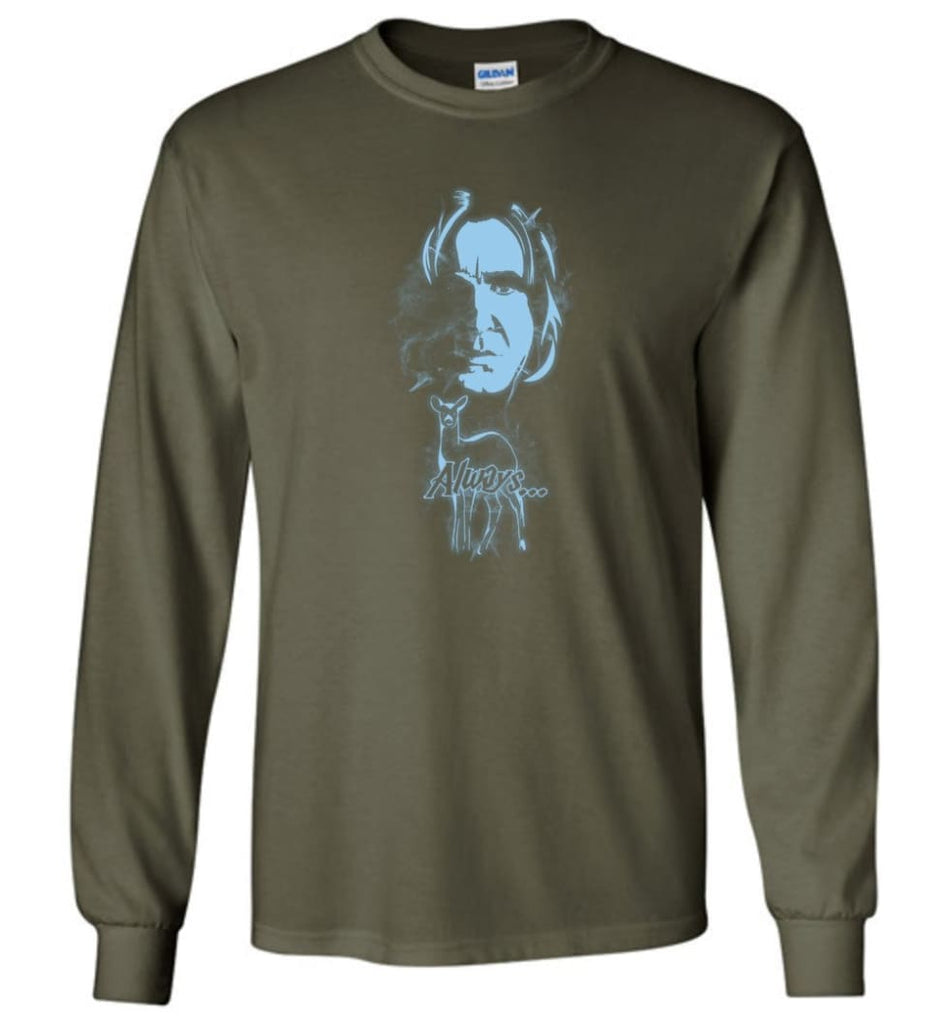 Harry Potter Snape Always Shirt Hogwarts Professor Severus Snape Sweater Jacket Hoodie - Long Sleeve T-Shirt - Military