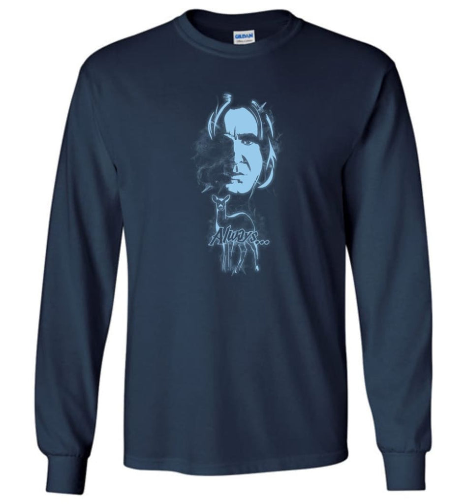 Harry Potter Snape Always Shirt Hogwarts Professor Severus Snape Sweater Jacket Hoodie - Long Sleeve T-Shirt - Navy / M