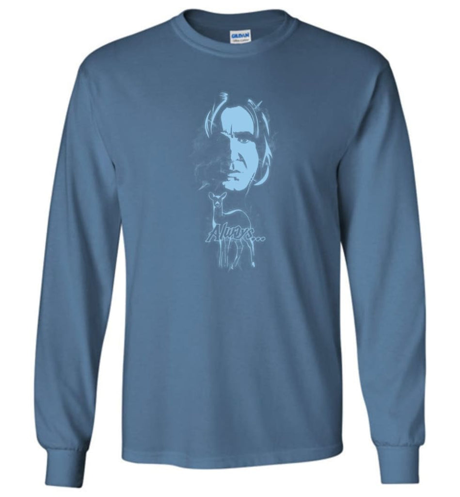 Harry Potter Snape Always Shirt Hogwarts Professor Severus Snape Sweater Jacket Hoodie - Long Sleeve T-Shirt - Indigo