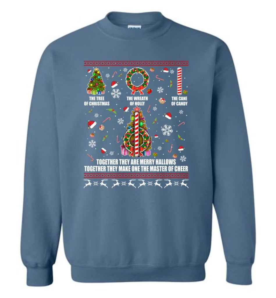 Harry Potter Ugly Sweater Merry Hallows They Make One Master Of Cheer Ugly Christmas Sweatshirt - Indigo Blue / M