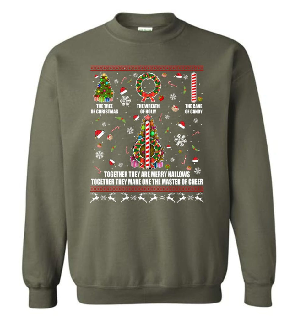 Harry Potter Ugly Sweater Merry Hallows They Make One Master Of Cheer Ugly Christmas Sweatshirt - Military Green / M