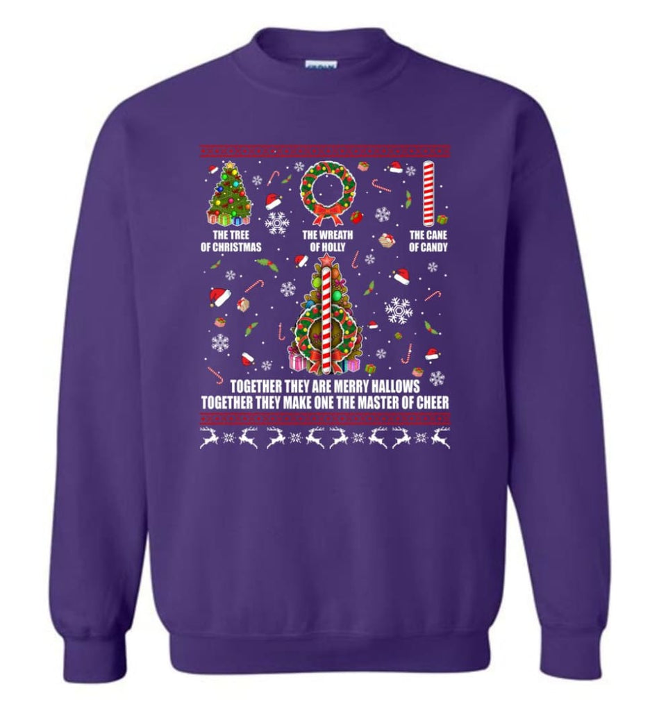 Harry Potter Ugly Sweater Merry Hallows They Make One Master Of Cheer Ugly Christmas Sweatshirt - Purple / M