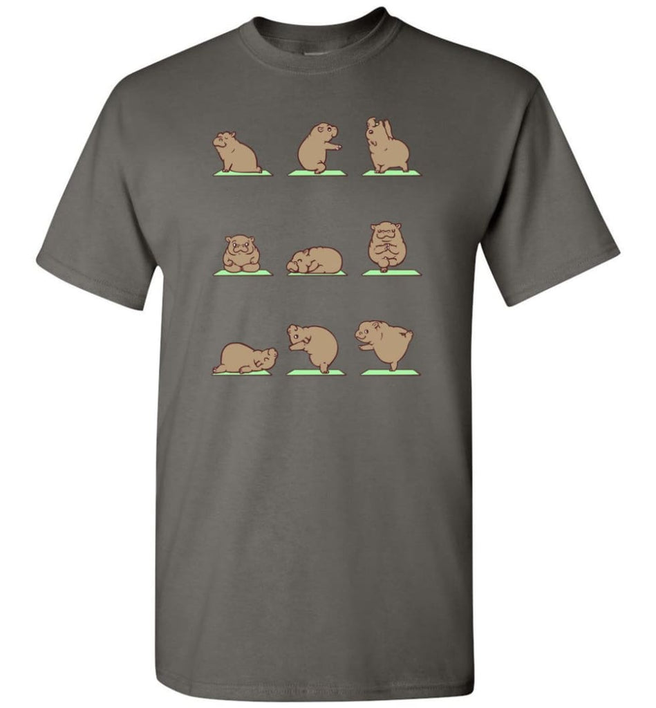 Hippie Yoga Shirt Funny Hippo Yoga Pose Downward Yoga Hippopotamus Class - T-Shirt - Charcoal / S