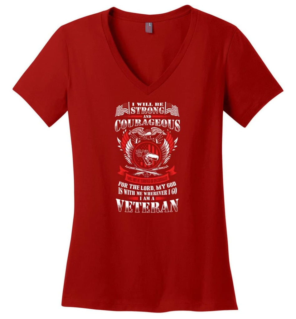 Honor The Sacrifice Remember The Service Veteran T Shirt Ladies V-Neck - Red / M