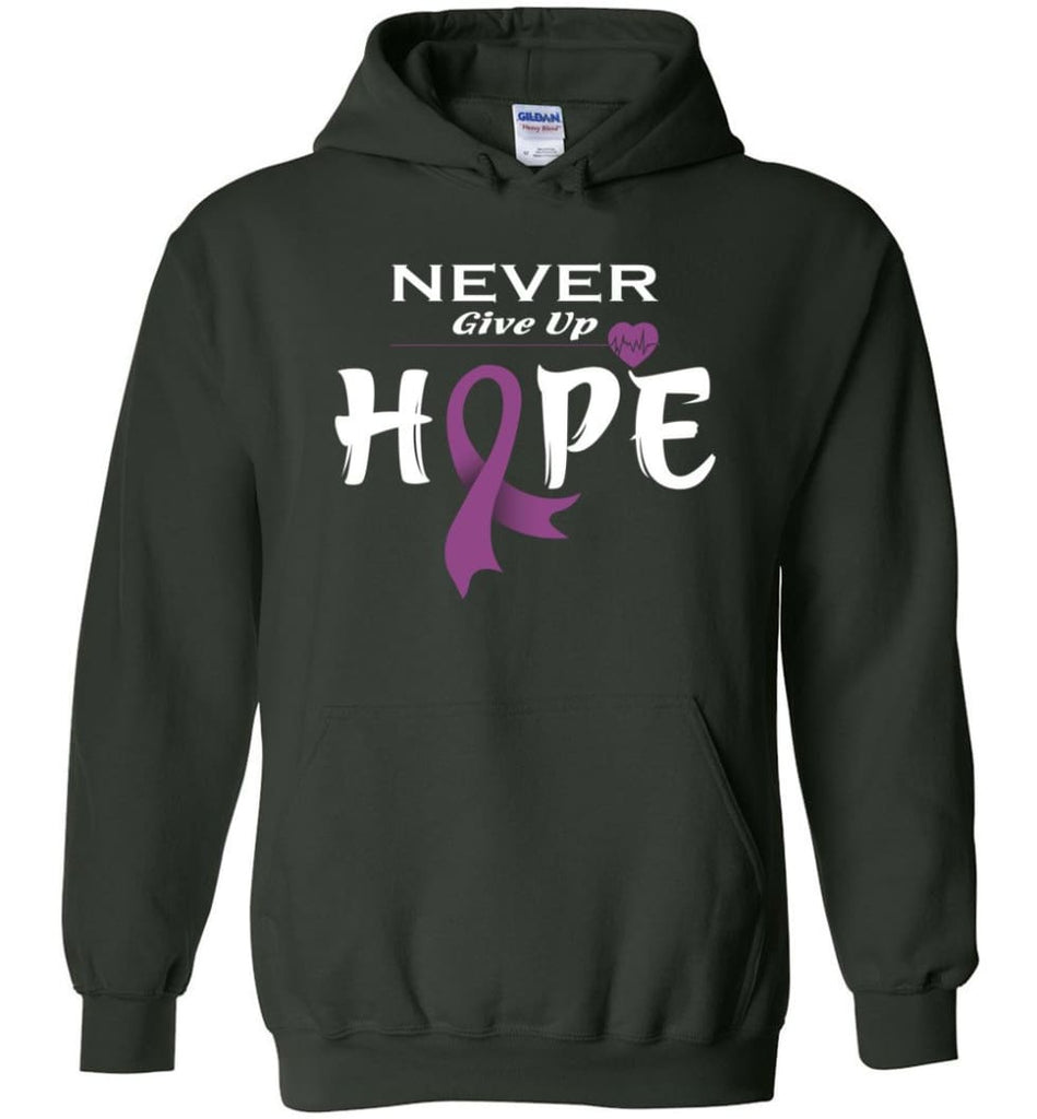 Honors Caregivers Cancer Awareness Never Give Up Hope Hoodie - Forest Green / M