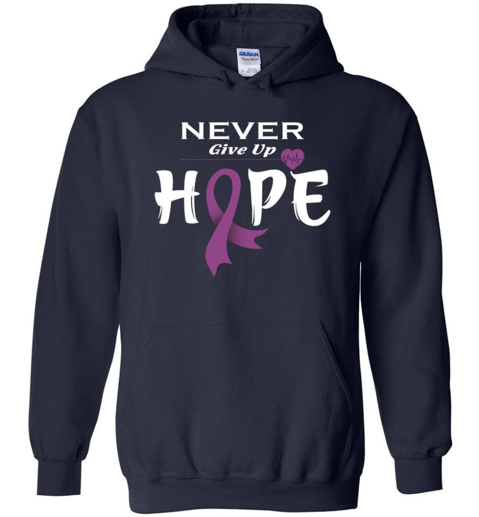 Honors Caregivers Cancer Awareness Never Give Up Hope Hoodie - Navy / M