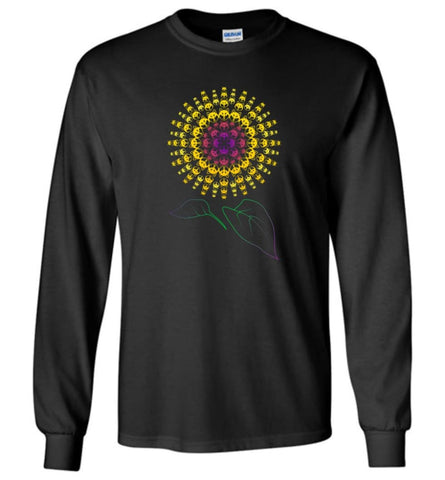 Husky Sunflower Dog with a decor Sunflower print - Long Sleeve - Black / M - Long Sleeve