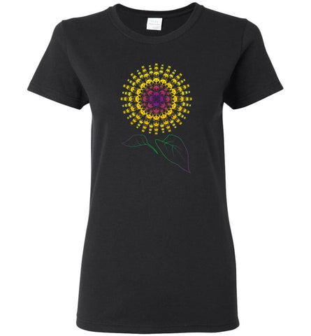 Husky Sunflower Dog with a decor Sunflower print - Women Tee - Black / M - Women Tee