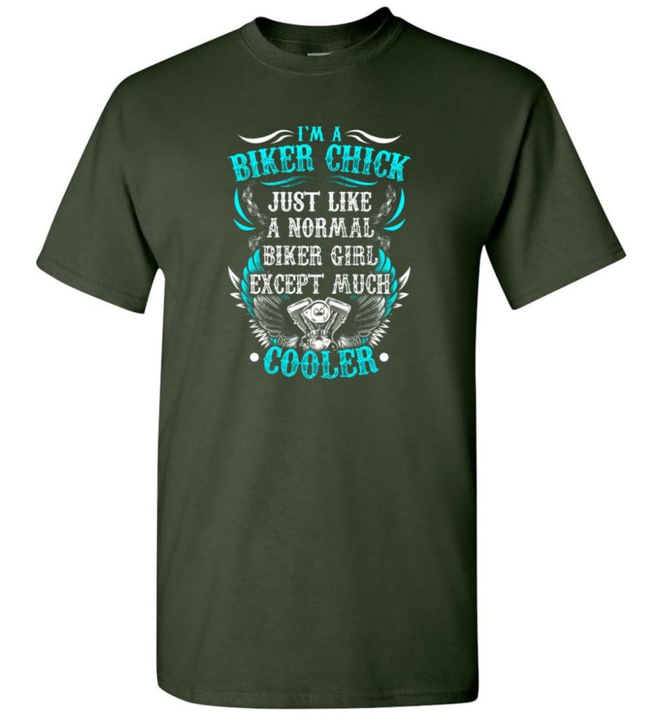 I'm A Biker Chick Biker Girls Shirt - Short Sleeve T-Shirt - Forest Green / S