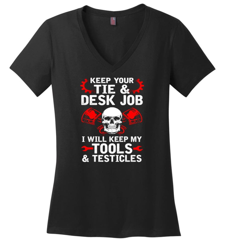 I'm A Mechanic But I Can't Fix Stupid Ladies V-Neck - Black / M