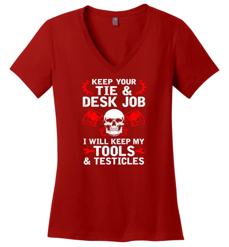 I'm A Mechanic But I Can't Fix Stupid Ladies V-Neck - Red / M
