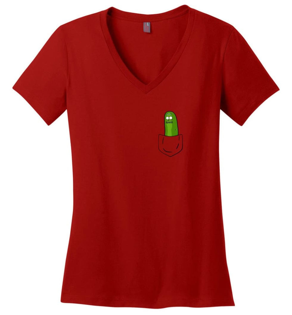 I'm Pickle Rick Shirt Pickle Rick In My Pocket Rick Morty Sweatshirt - Ladies V-Neck - Red / M