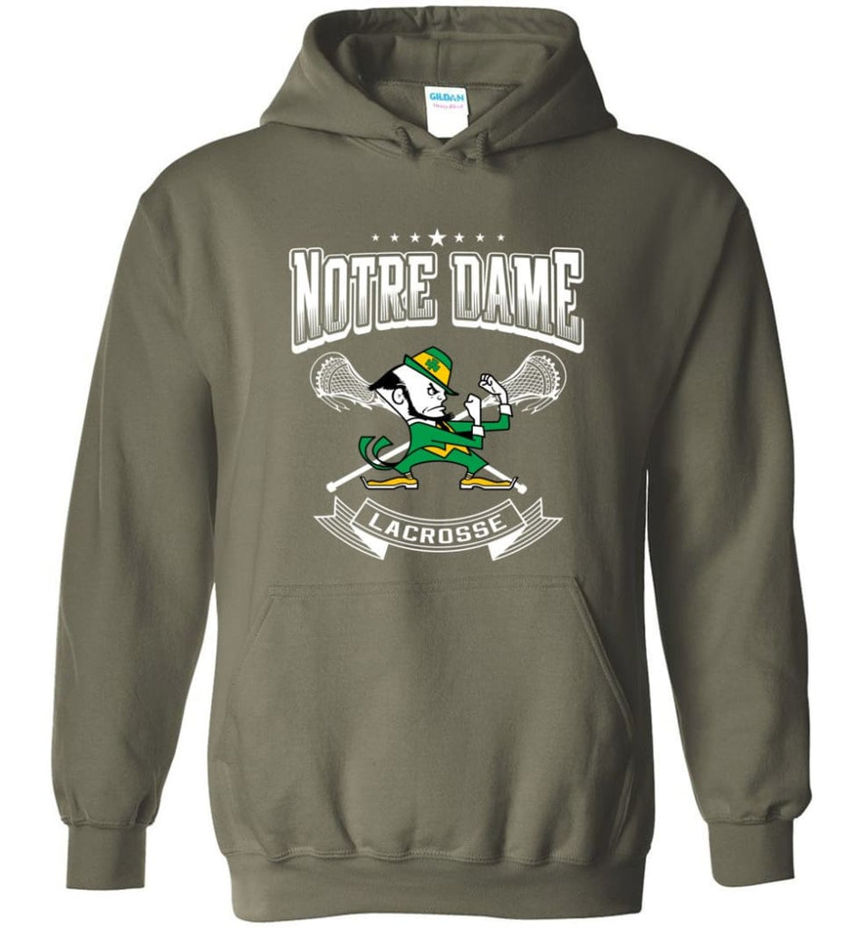 Irish Shirt St Patricks Day Shirt notre Dame Lacrosse Irish Fighting - Hoodie - Military Green / M