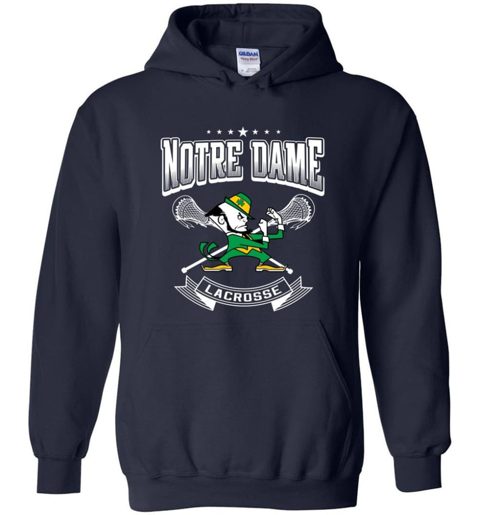 Irish Shirt St Patricks Day Shirt notre Dame Lacrosse Irish Fighting - Hoodie - Navy / M