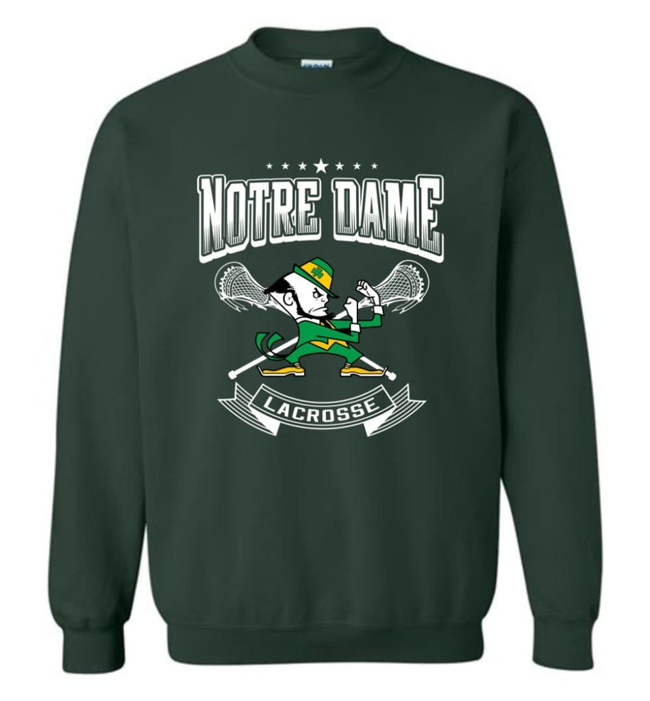 Irish Shirt St Patricks Day Shirt Notre Dame Lacrosse Irish Fighting Sweatshirt - Forest Green / M