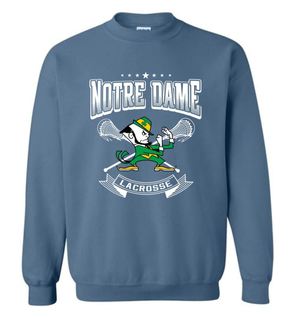 Irish Shirt St Patricks Day Shirt Notre Dame Lacrosse Irish Fighting Sweatshirt - Indigo Blue / M
