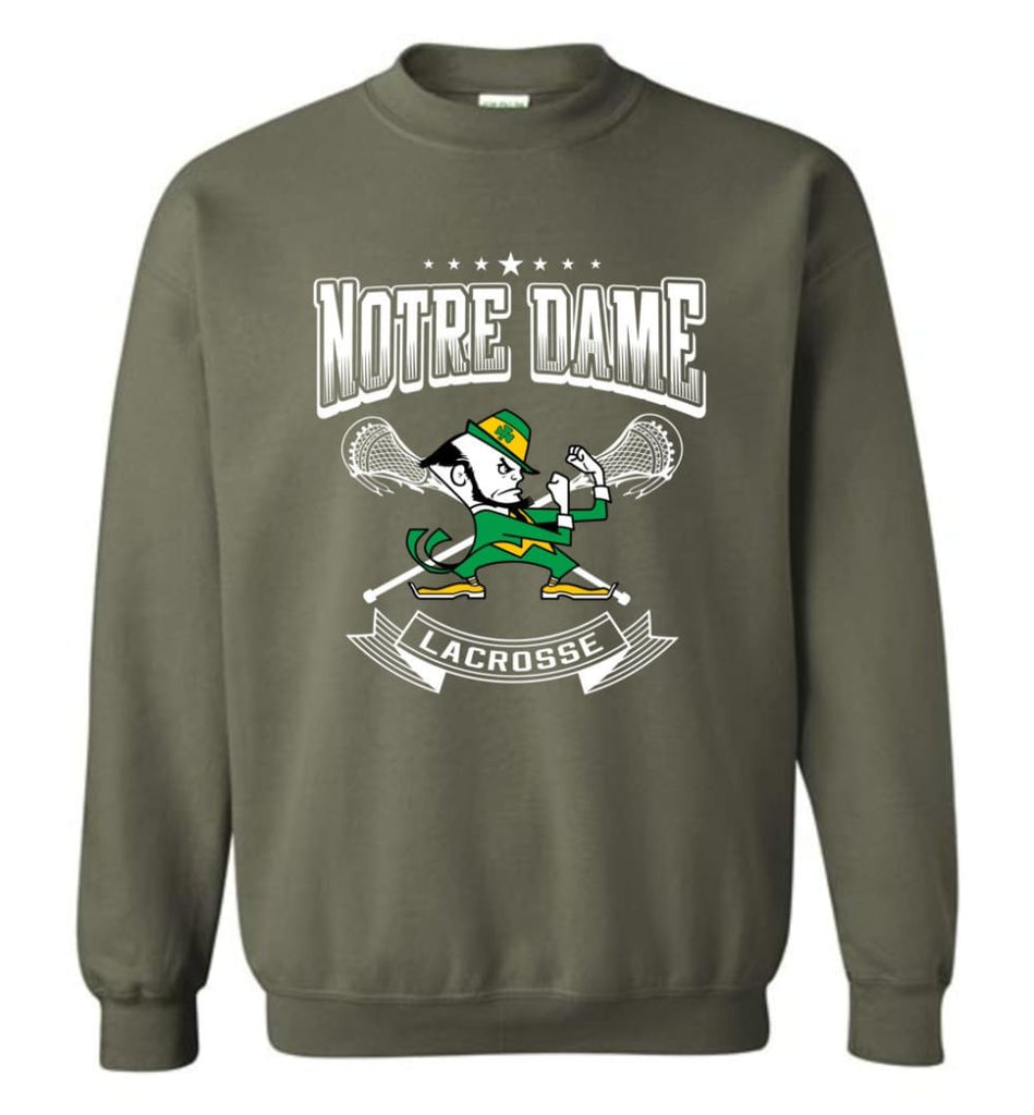 Irish Shirt St Patricks Day Shirt Notre Dame Lacrosse Irish Fighting Sweatshirt - Military Green / M