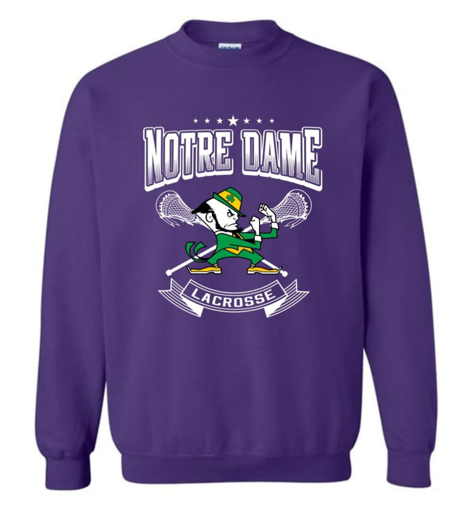 Irish Shirt St Patricks Day Shirt Notre Dame Lacrosse Irish Fighting Sweatshirt - Purple / M