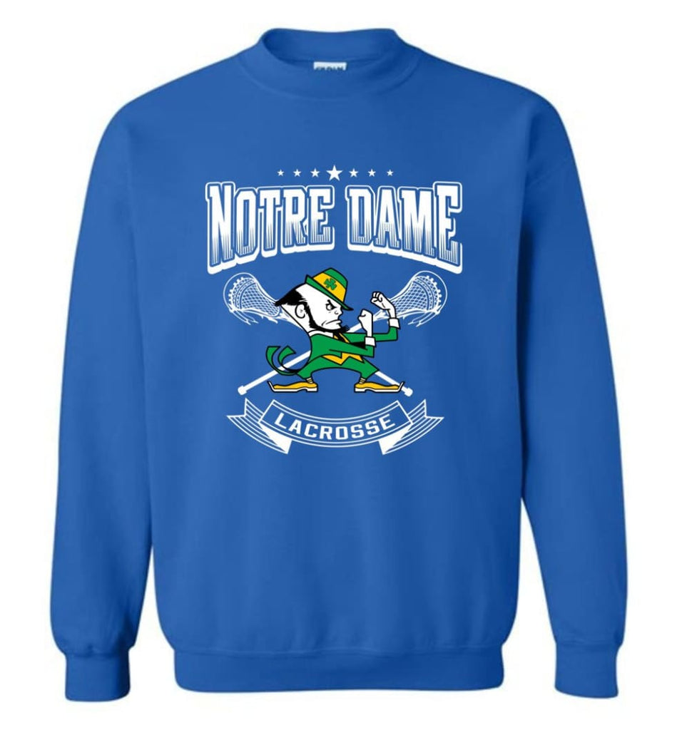 Irish Shirt St Patricks Day Shirt Notre Dame Lacrosse Irish Fighting Sweatshirt - Royal / M