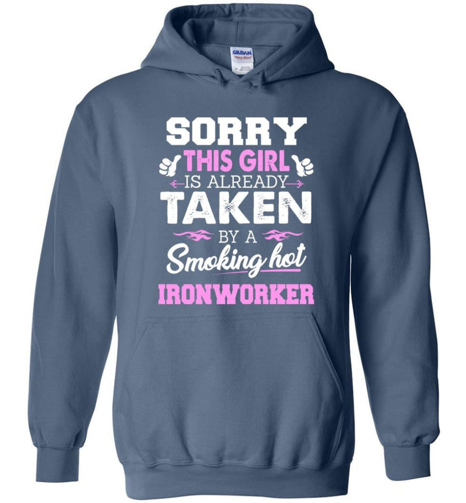 Ironworker Shirt Cool Gift for Girlfriend Wife or Lover - Hoodie - Indigo Blue / M