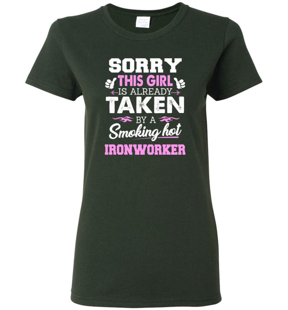 Ironworker Shirt Cool Gift for Girlfriend Wife or Lover Women Tee - Forest Green / M - 11