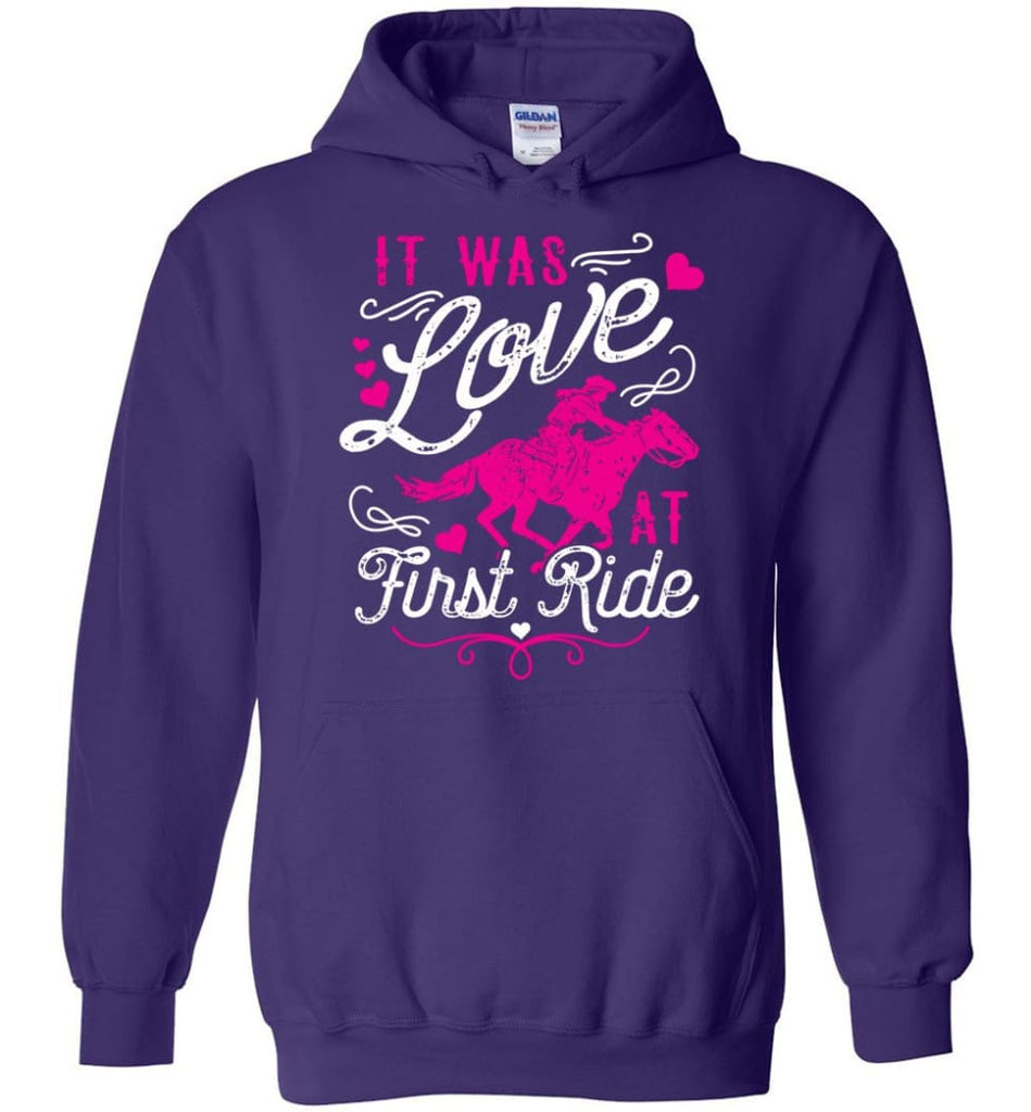 It Was Love At First Ride Hoodie Horse Mom Christmas Gift Horse Lover Sweater - Hoodie - Purple / M