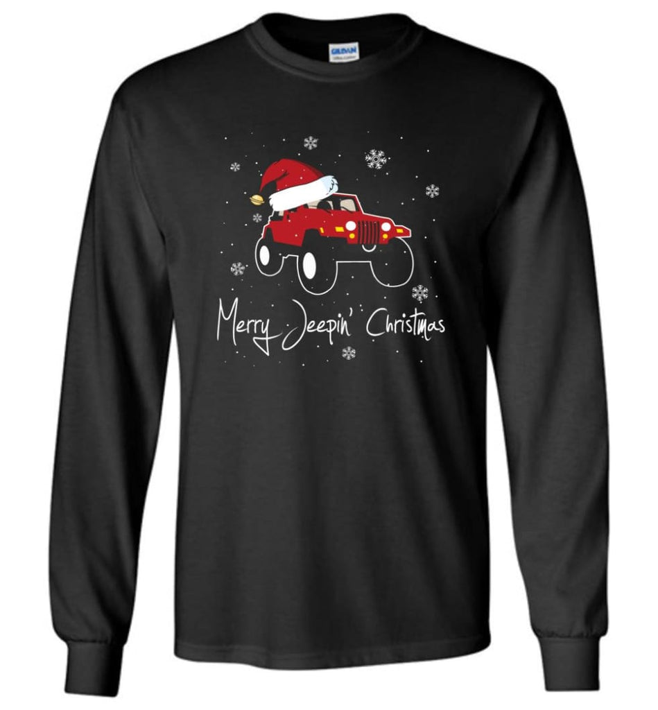 Jeep Shirt Merry Jeepas Jeep Sweatshirt Gift for Jeep Girls or Guys Long Sleeve T-Shirt - Black / M